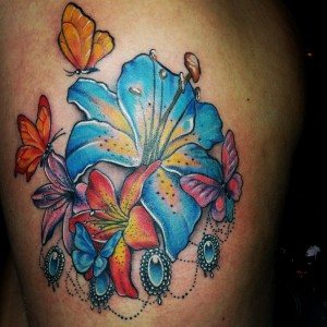 lilyflowers-butterflies-tattoo